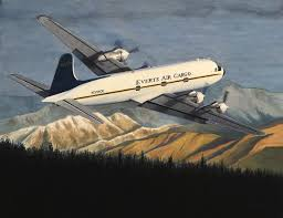 another day another douglas douglasaurus rex everts air cargo original watercolor by alaskan artist bob thompson
