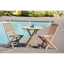 table ronde et chaises salon de jardin en teck brut table ronde pliante 80cm 2 chaises