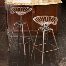Metal Vanity Stool Decmode 14912 Adjustable Backless Barstool With Metal Seat Hayneedle