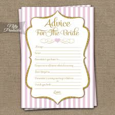 advice to the cards printable bridal shower advice cards pink gold