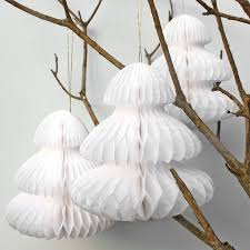 White Christmas Ornaments Uk by 3 Small White Honeycomb Tissue Paper Christmas Trees Pipii
