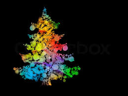 color designs illustration of a christmas tree full of color design decorated