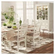 Meadow Hills Double Pedestal Extendable Dining Table WoodAntique - Antique white pedestal dining table