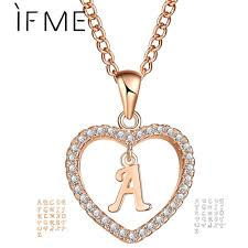 name necklace charms images If me romantic gold color cubic zirconia love heart crystal jpg