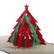 red u0026 green christmas tree with star 3d pop up greetings card