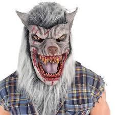 mens werewolf latex face mask furry grey white wolf halloween