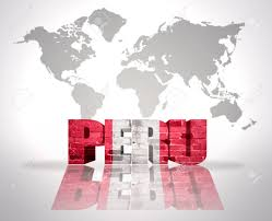 Lima Flag Word Peru With Peruvian Flag On A World Map Background Stock Photo