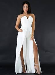 white jumpsuit s fashion strapless high slit wide leg jumpsuit novashe com