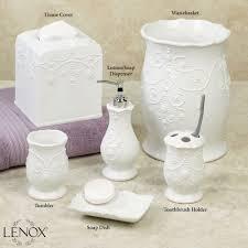 White Bathroom Accessories Ceramic by Lenox French Perle White Bath Accessories