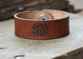 monogrammed cuff bracelet personalized monogram leather cuff leather bracelet engraved