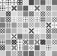 100 seamless geometric patterns and ornaments in black and white