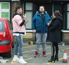 charlotte crosby picks up her breakfast from a greasy spoon before