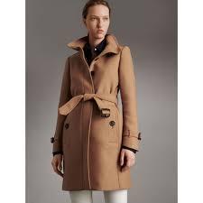 technical wool cashmere funnel neck coat in camel women
