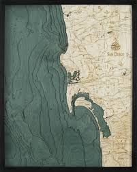 san diego california 3 d nautical wood chart large 24 5 x 31