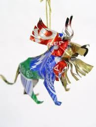 unpainted tin elephant ornament handmade from recycled soda cans