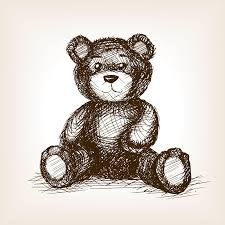 engraved teddy bears teddy sketch style vector stock vector image