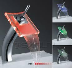 tall glass waterfall led vessel faucet l28621f led waterfall