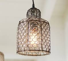 wire pendant light fixtures harlowe wire glass indoor outdoor pendant pottery barn