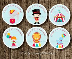 circus stickers circus cupcake topper circus tags
