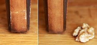 use nuts to repair small nicks scratches in your wood furniture
