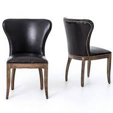 Black Leather Armless Chair Richmond Black Leather Wingback Dining Chair Dining Chairs