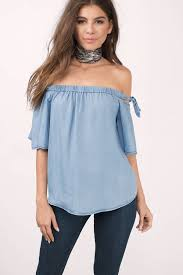light blue off the shoulder top light blue blouse sleeve tie blouse off shoulder blouse light