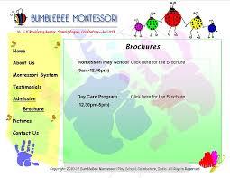 play school brochure templates brochure welcome to bumblebee montessori play school