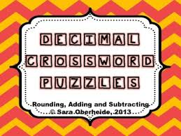 decimal crossword puzzles rounding adding and subtracting by