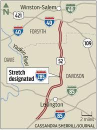 Lexington Zip Code Map U S 52 Renamed As Interstate 285 Between Winston Salem And