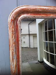 Large Arched Wall Mirror A Large Antique Arched Top French Red Gilt And Cream Wall Mirror