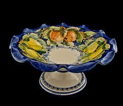 italian majolica hand painted italian ceramics fruit bowl with