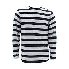 Bandit Halloween Costume Amazon Men U0027s Long Sleeves Stripe Black White Scallop
