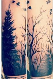 black ink flying birds and forest tree tattoo golfian com