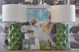 green geometric detailed table lamp at southampton mecox
