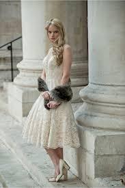 rita mae 1055 anastasia champagne tea length lace wedding dress