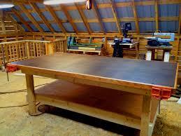 wood shop heavy duty shop table diy woodshop