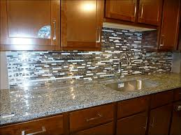 kitchen stainless steel backsplash behind stove bronze tile