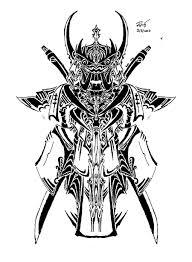 tribal samurai mask tattoo design