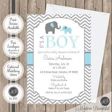 Baby Shower Invite Boy Blue And Gray Chevron Elephant Its A Boy Baby Shower Invitation