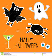 happy ghost clipart happy halloween set ghost bat spider eyes martini card