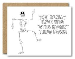 funny skeleton card etsy
