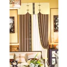 Brown Linen Curtains Rustic Brown Linen Fabric Jacquard Pattern Curtains No Valance