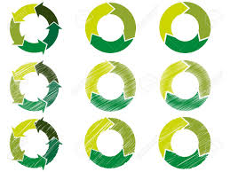 circles in steps and decorated with arrows in a green color scheme