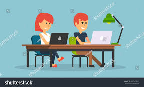 office table designs people work office design flat business stock vector 397947601