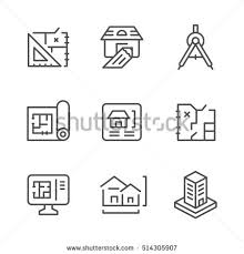 icons architectural isolated stock illustration