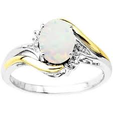 sterling silver engagement rings walmart duet sterling silver with 10kt yellow gold oval created opal and