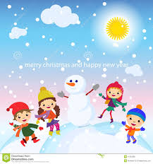 christmas greeting card kids snow and snowman vector stock vector