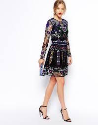 embellished dress premium embellished skater dress at asos