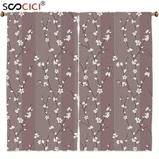 Asian Curtains Window Curtains Treatments 2 Panels Floral Cherry Blossoms