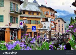 megeve france august 9 view street stock photo 305854778